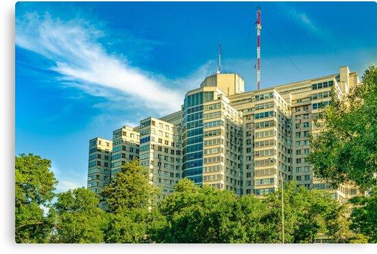 Hospital Building Exterior View, Montevideo, uruguay by DFLC Prints