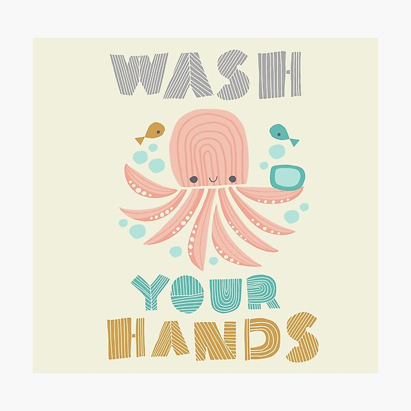 Splish Splash Zoo - Wash Your Hands Photographic Print