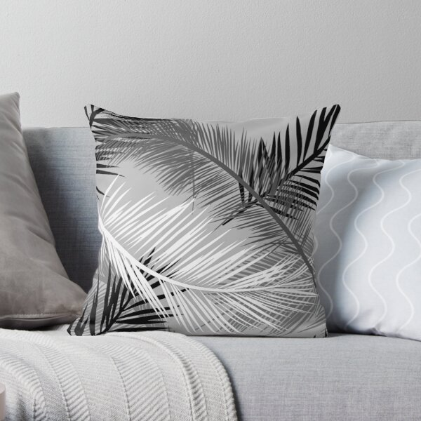 Palm Leaf Print, Gray, Black and White Throw Pillow