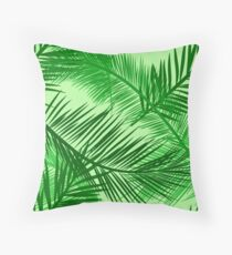 Palm Leaf Print, Emerald and Lime Green  Throw Pillow