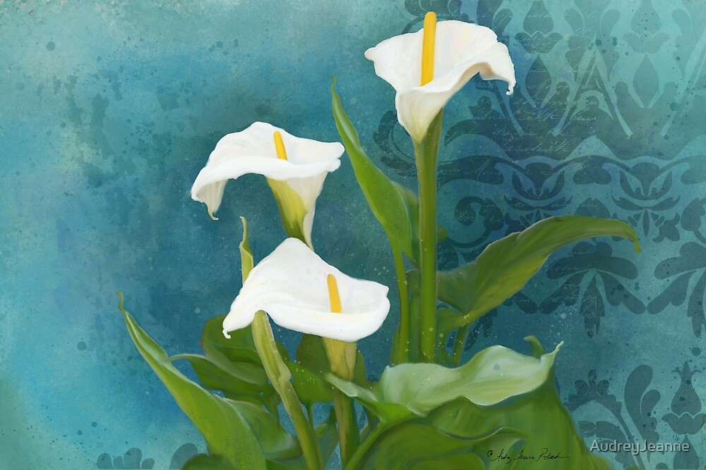Modern Oversized Floral White Calla Lily Flowers by AudreyJeanne