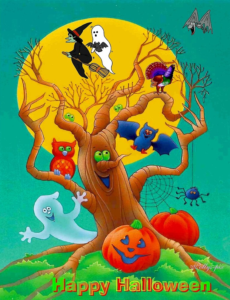 HALLOWEEN : Enchanted Woods Scene Advertising Print by posterbobs