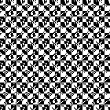 Black and White Vintage Halloween Disco Check by Creepyhollow