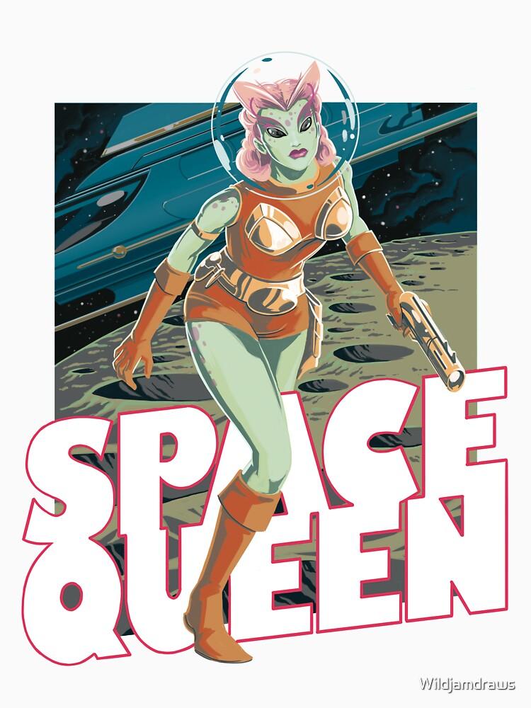 Space Queen Retro Illustration by Wildjamdraws