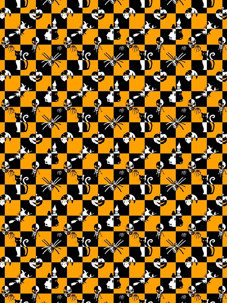 Black Orange & White Vintage Halloween Disco Check by Creepyhollow