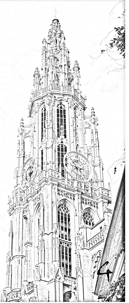 Sketch Our Lady Cathedral Antwerp by Gilberte