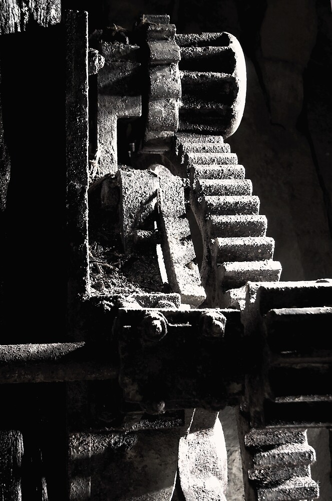 Detail of crane winding gears. Box Freestone Mine. Wiltshire by ferret