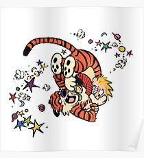 Calvin and Hobbes Wrestling Poster