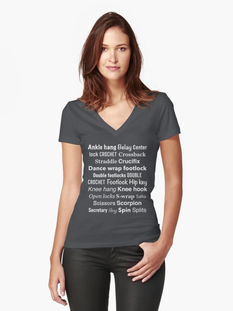 Aerial Silks - Silk Speak - White design Women's Fitted V-Neck T-Shirt Front