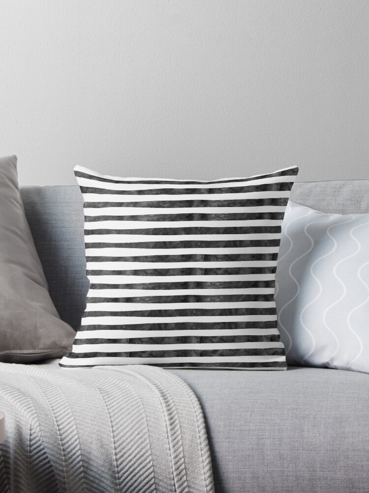 Black White Watercolor Stripes by pencreations