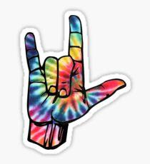 tie dye ILY hand Sticker