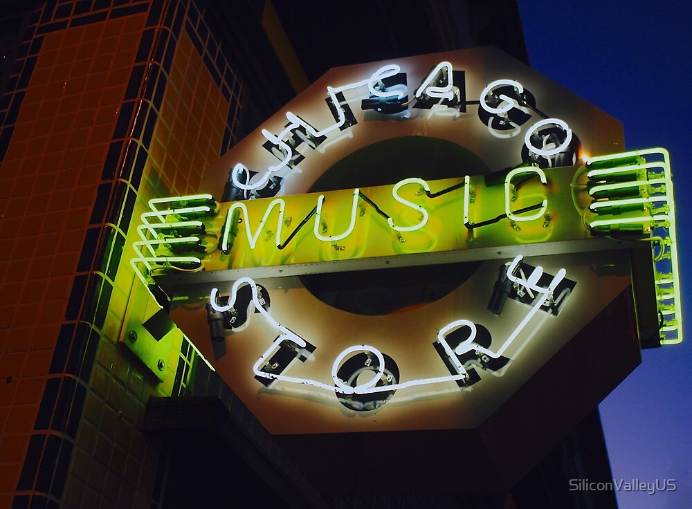 Chicago Music Store Neon Light by SiliconValleyUS