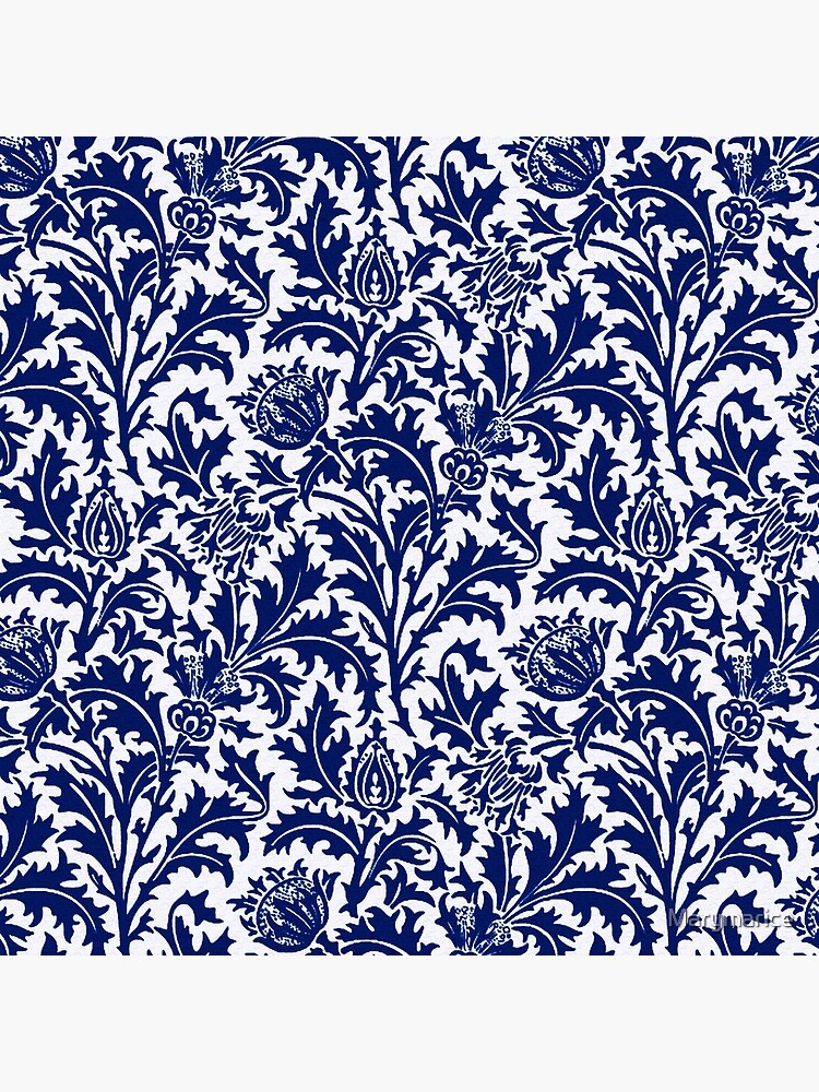 William Morris Thistle Damask, Cobalt Blue and White  by Marymarice