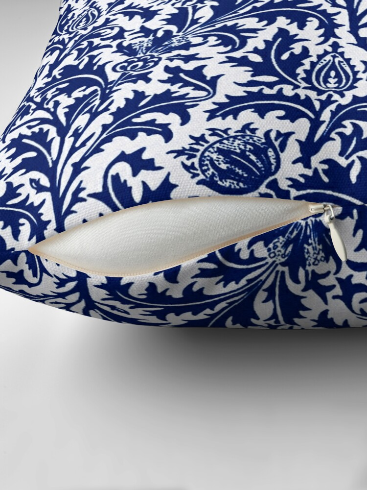 Alternate view of William Morris Thistle Damask, Cobalt Blue and White  Throw Pillow