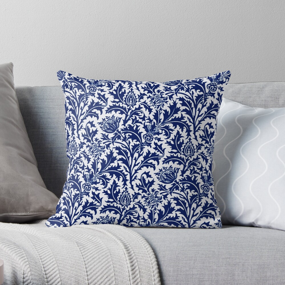 William Morris Thistle Damask, Cobalt Blue and White  Throw Pillow