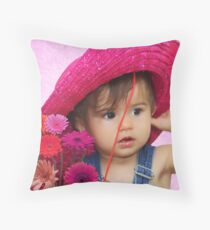 Pink Hat Baby Throw Pillow