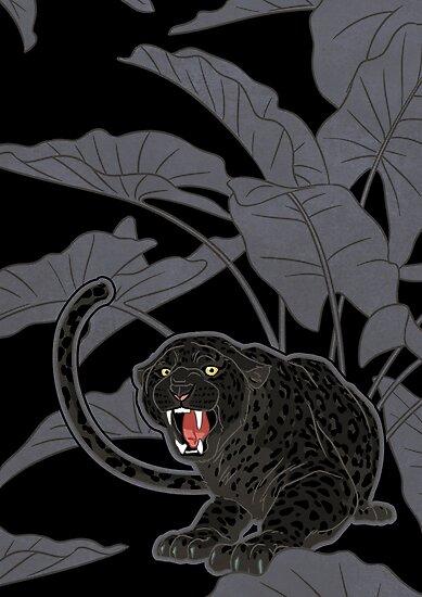 Black panthers on Black by Iker Paz Studio
