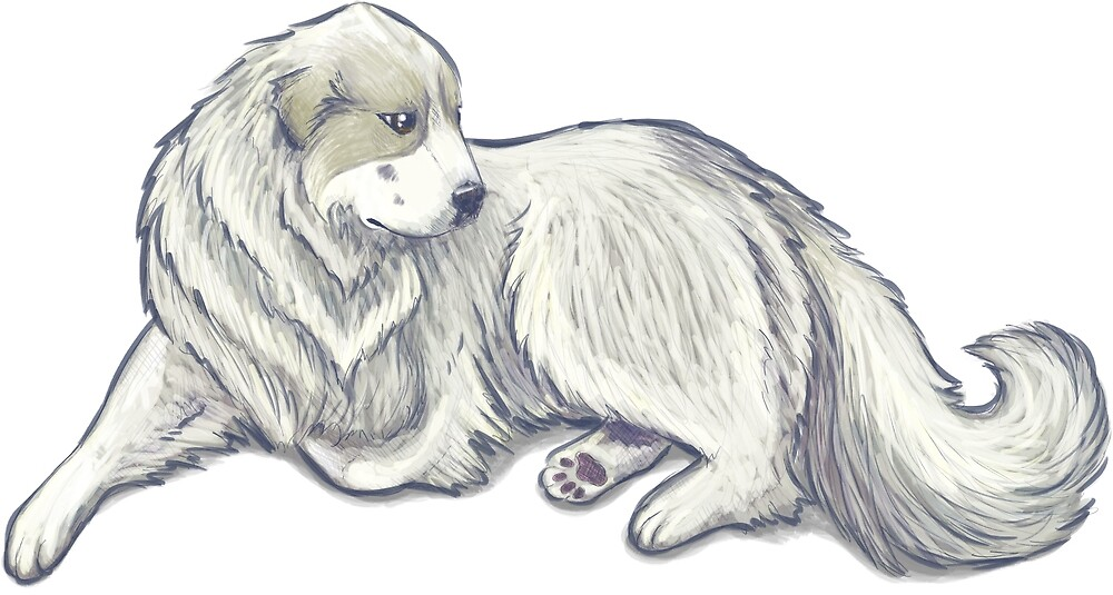 Great Pyrenees: Blarieau on Blue by thaneydesign