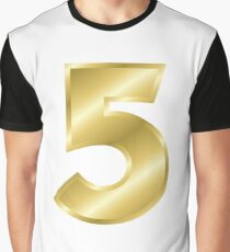 Modern Number 5 Five Gold Bold Font  Graphic T-Shirt