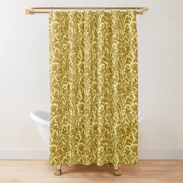 William Morris Thistle Damask, Mustard Gold  Shower Curtain