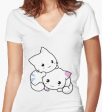 Cute Kitties Playing Women's Fitted V-Neck T-Shirt
