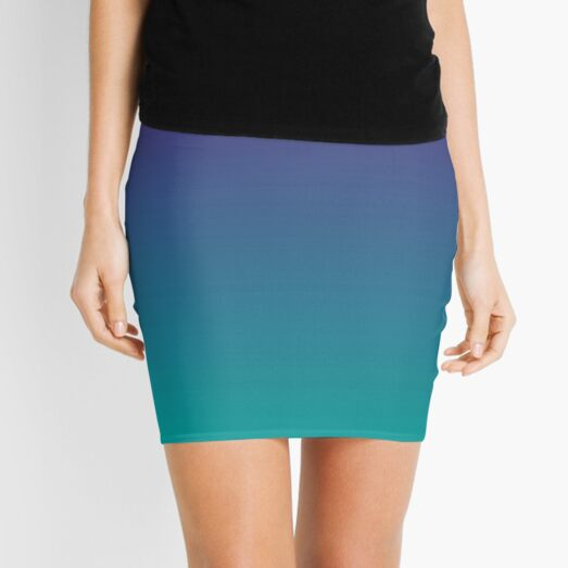 Ombre   Gradient Colors   Purple and Teal    Mini Skirt