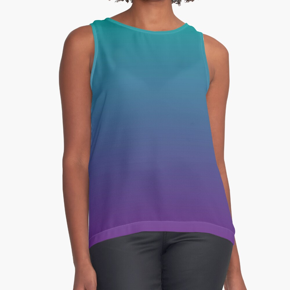 Ombre | Gradient Colors | Teal and Purple |  Sleeveless Top