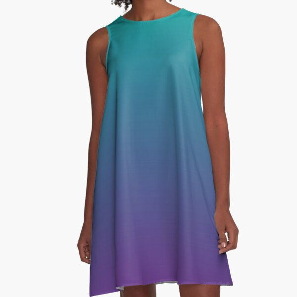 Ombre | Gradient Colors | Teal and Purple |  A-Line Dress