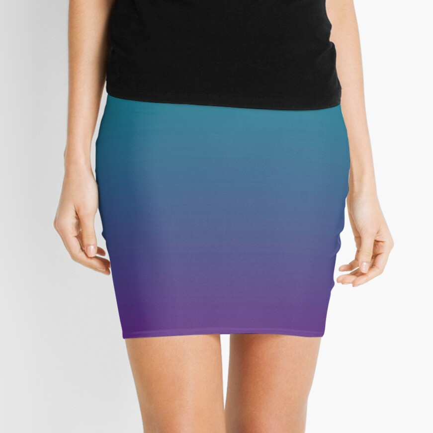 Ombre | Gradient Colors | Teal and Purple |  Mini Skirt