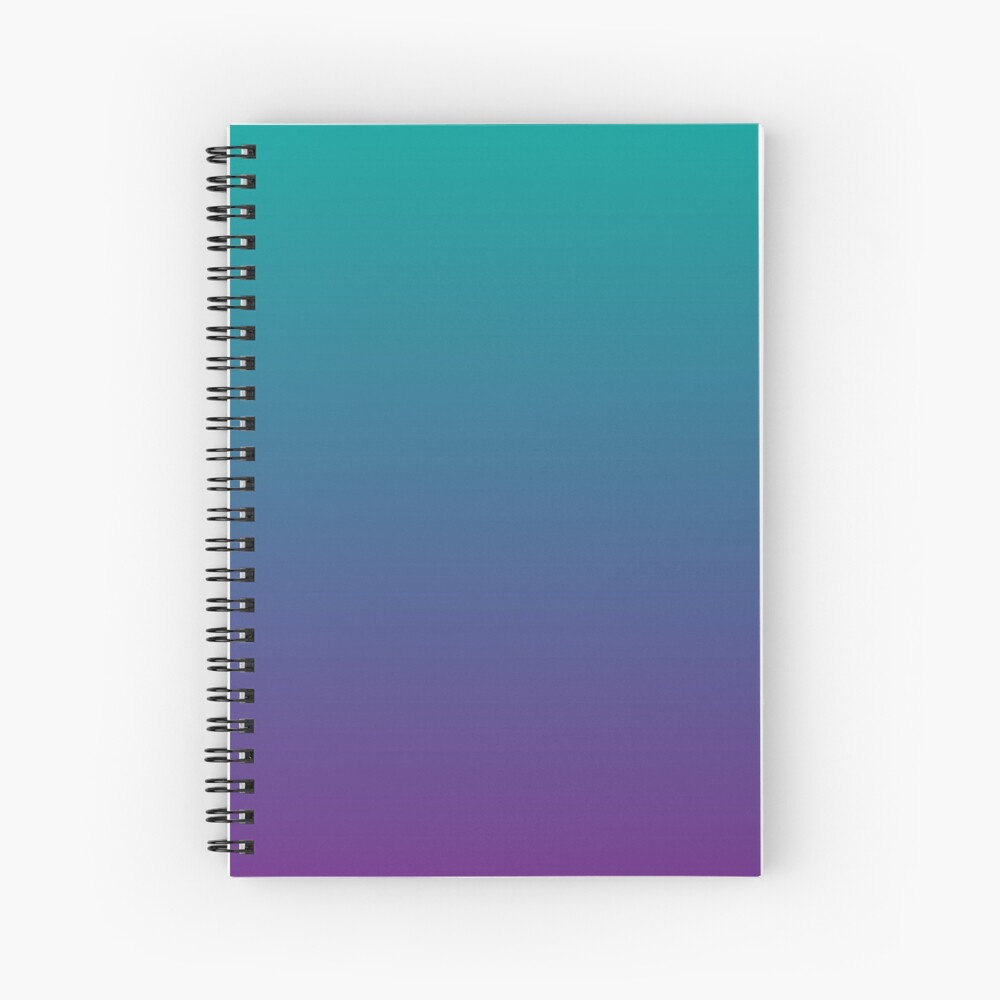 Ombre | Gradient Colors | Teal and Purple |  Spiral Notebook