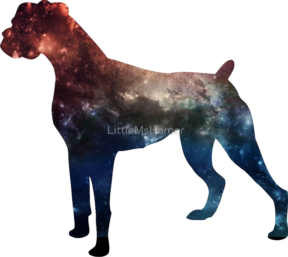 Galaxy Boxer Dog: Red/Blue by LittleMsHorner
