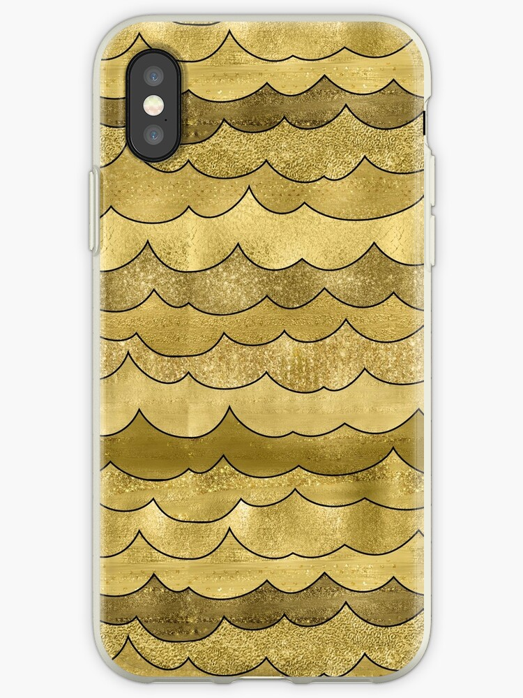 Sparkling Golden Waves Pattern by Nicole Demereckis