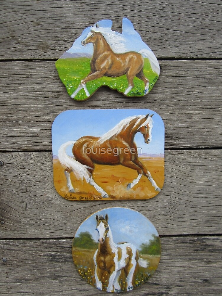 Palomino & Paint Horse fridge magnets by louisegreen