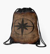 Nostalgic Old Compass Rose Design Drawstring Bag