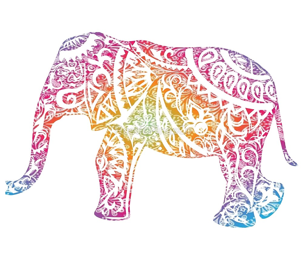 Colorful Boho Mandala Elephant // Weekend Originals Collection by RusticPinesCo