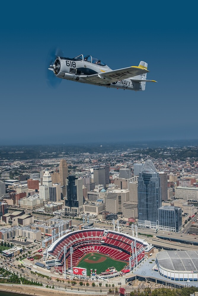 T-28 Trojan over Cincinnati Reds Stadium by Mark Greenmantle