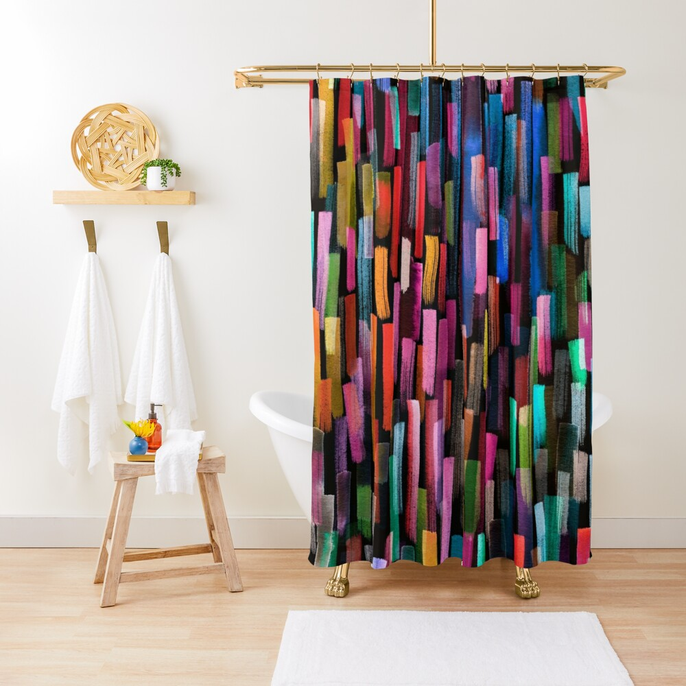 Multicolored watercolor stripes pattern Shower Curtain
