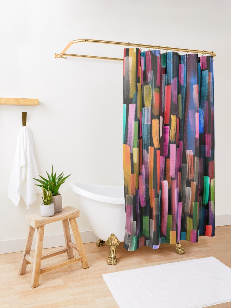 Alternate view of Multicolored watercolor stripes pattern Shower Curtain