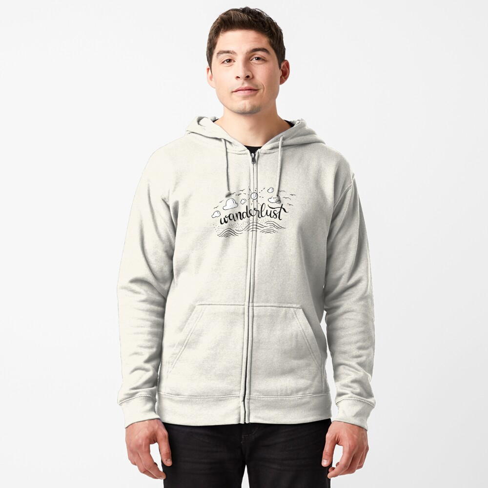 Wanderlust - Black and White illustration Zipped Hoodie