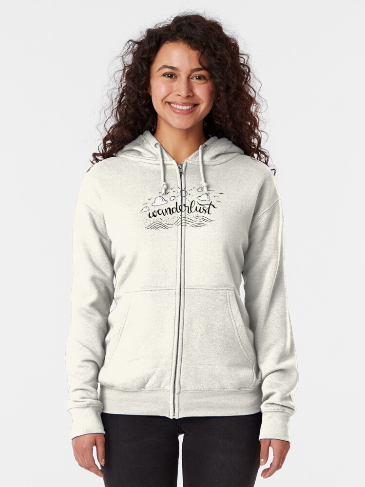 Alternate view of Wanderlust - Black and White illustration Zipped Hoodie