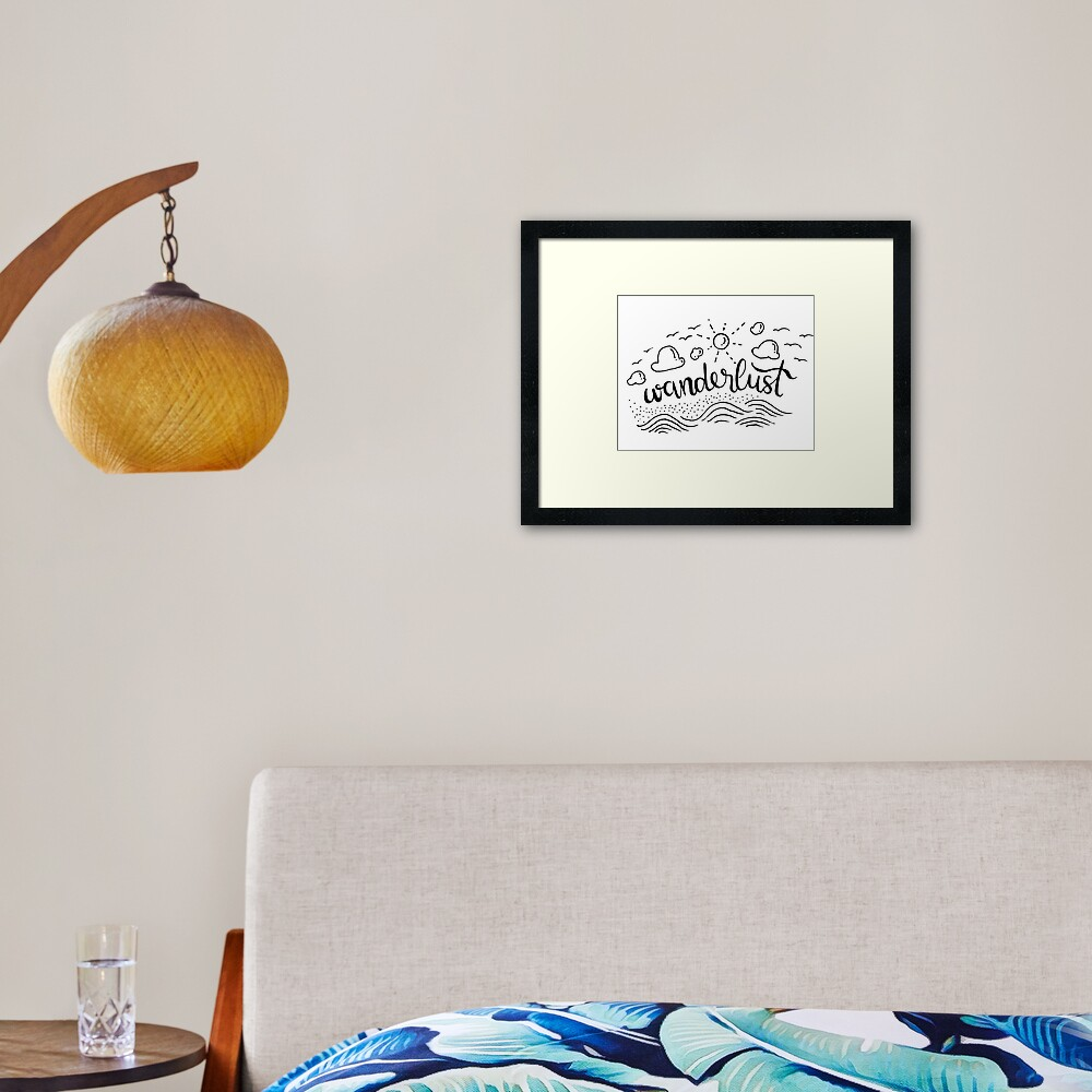 Wanderlust - Black and White illustration Framed Art Print