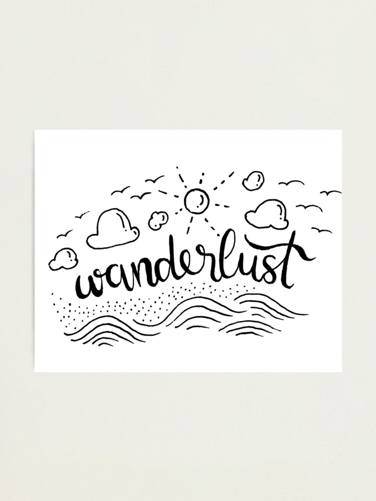 Alternate view of Wanderlust - Black and White illustration Photographic Print