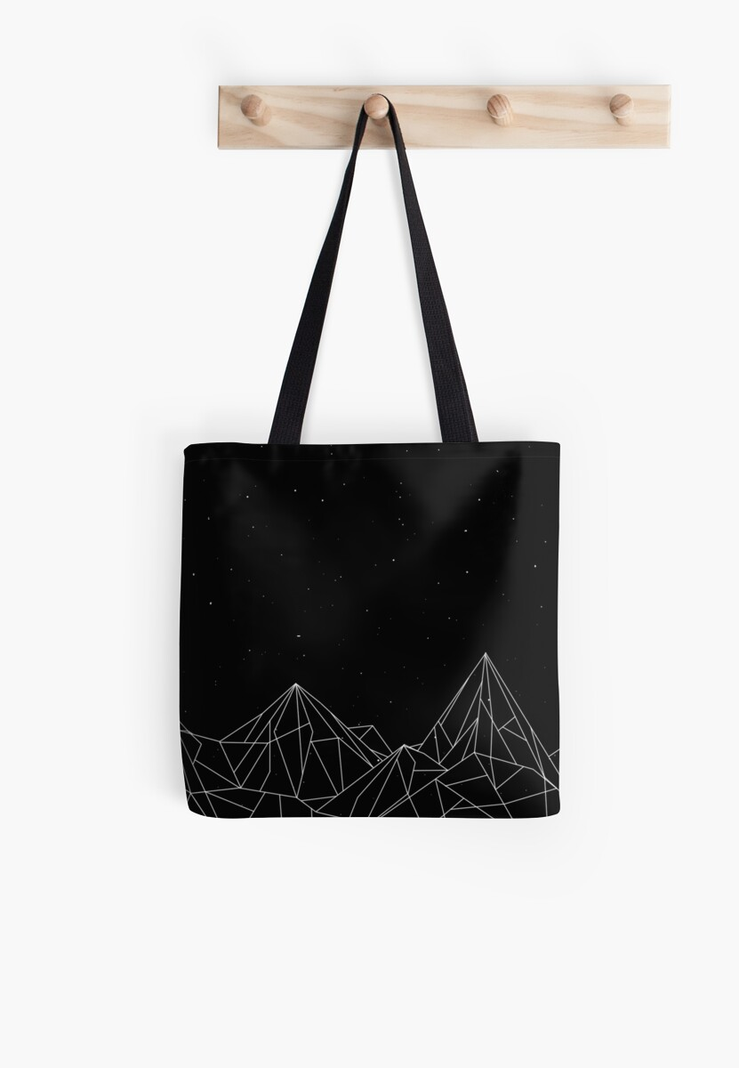 7a4e74d1a9e 'Night Court Mountains - Black (OLD VERSION)' Tote Bag by floeing