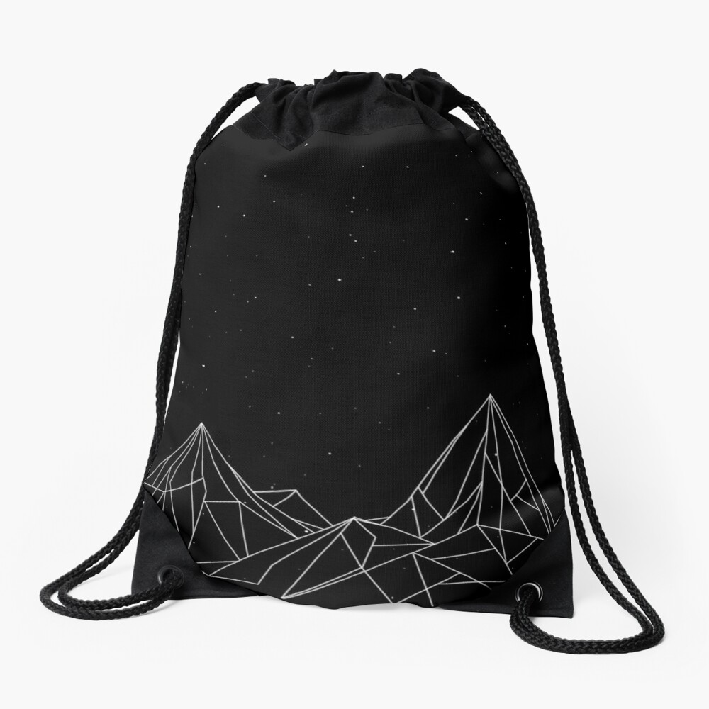 Night Court Mountains - Black (OLD VERSION) Drawstring Bag