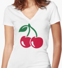 Red cherries Women's Fitted V-Neck T-Shirt