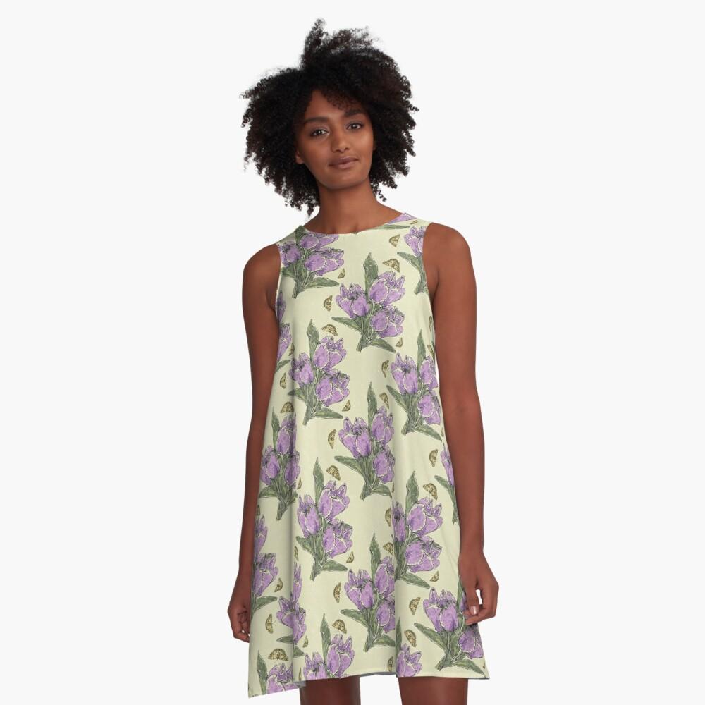 Retro Spring Crocus Refrain A-Line Dress Front