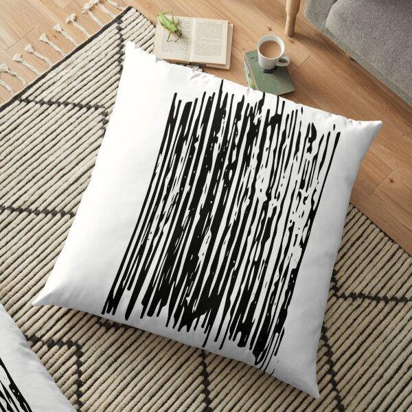 Black Brush Hand Written  Floor Pillow