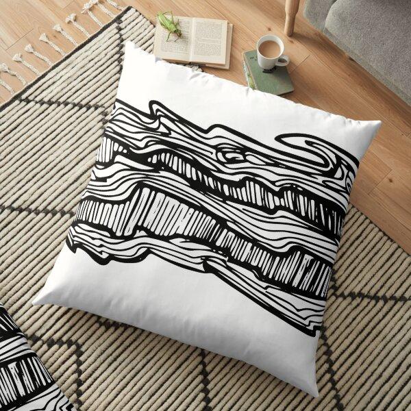 Radial Black, Brush, Hand ,Written  Floor Pillow