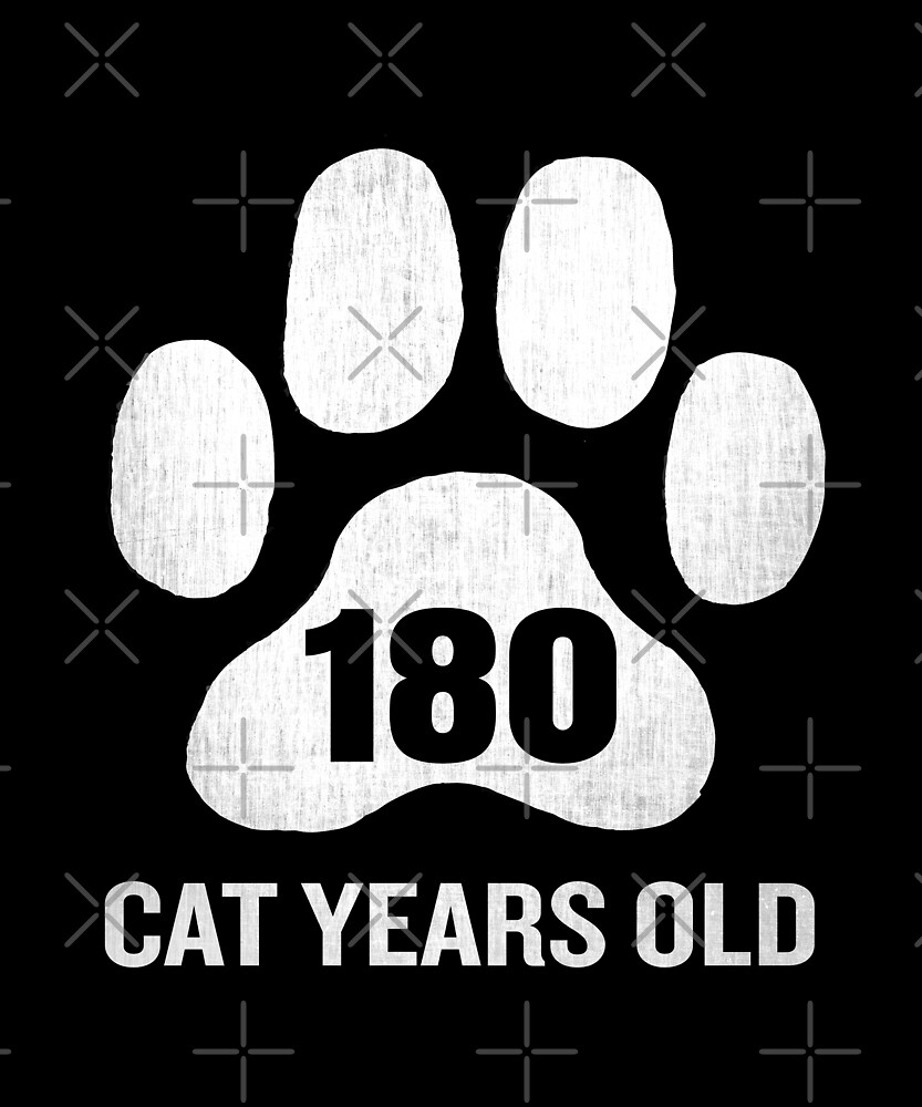 180 Cat Years Old Funny 45th Birthday Gag Gift Paw by SpecialtyGifts