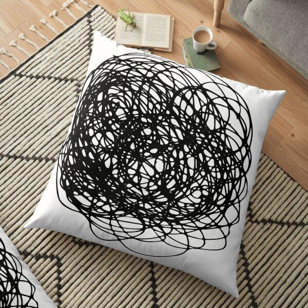 Circle Black, Brush, Hand ,Written  Floor Pillow